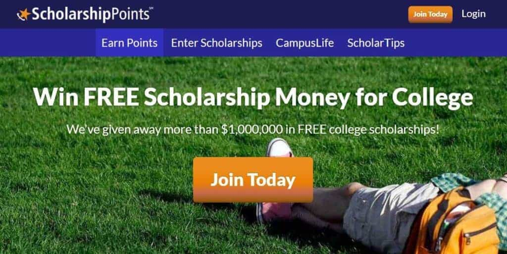 ScholarshipPoints homepage.