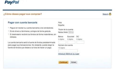 Cuenta bancaria PayPal