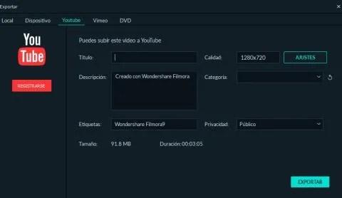 Exportar vídeos con Filmora