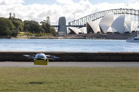 A commercial drone under trial by Australian startups Flirtey and Zookal could be used for textbook delivery. Credit: The PR Group