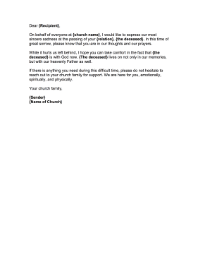 Condolence Letter From Church