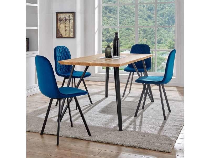 ensemble table a manger 4 chaises en tissu bleu design kevan