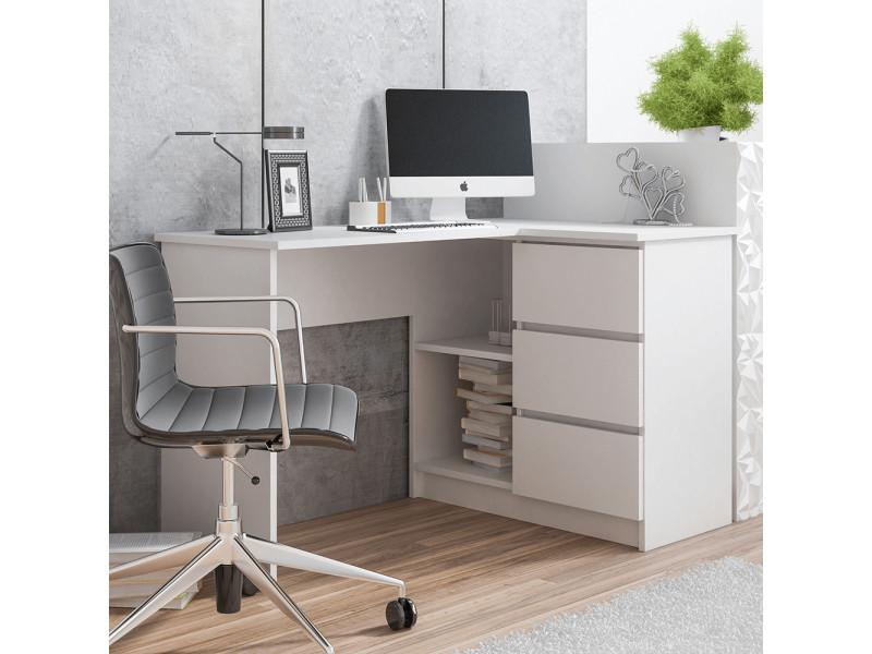 bureau d angle geranio 124 cm blanc style scandinave