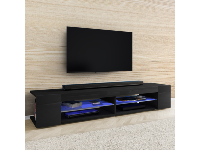 meuble tv mitchell 180 cm noir mat noir brillant avec led