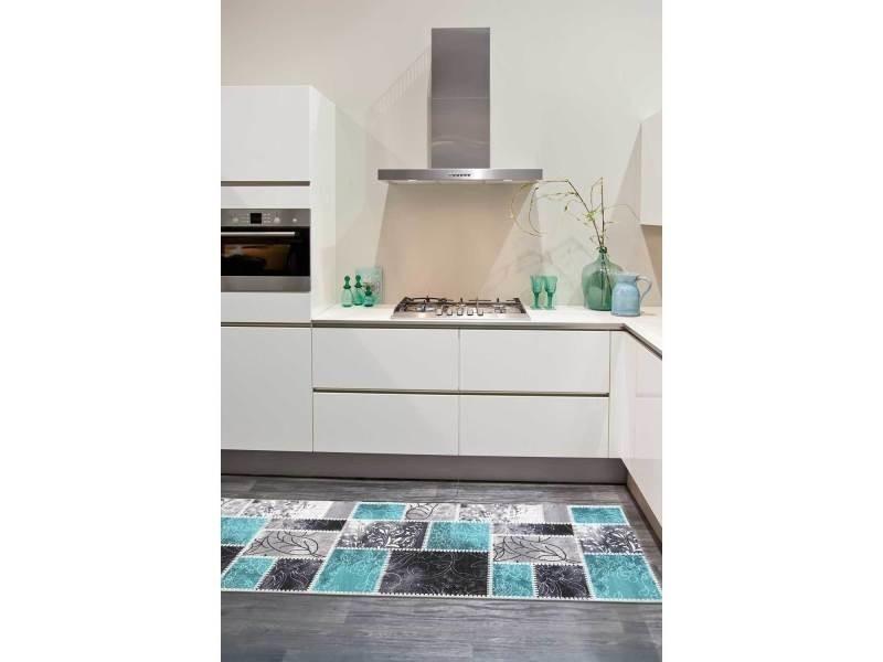 vintage bleu 67 x 180 cm tapis cuisine par unamourdetapis