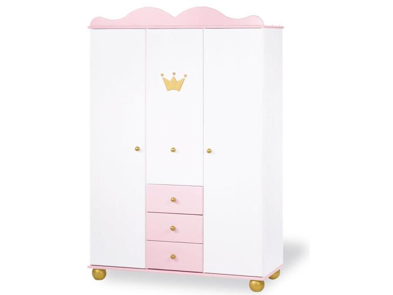 armoire 198 cm a 3 portes et 3 tiroirs design princesse en bois massif coloris blanc et rose p 23900 co c kuugo