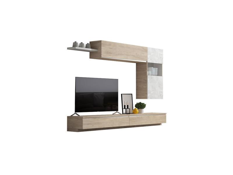 composition meuble tv bois clair marbre blanc camelia n 1 l 270 x l 35 x h 175 neuf