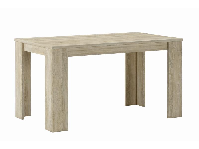 table de salle a manger et sejour 140 cm rectang coul chene clair 80x138x75 cm
