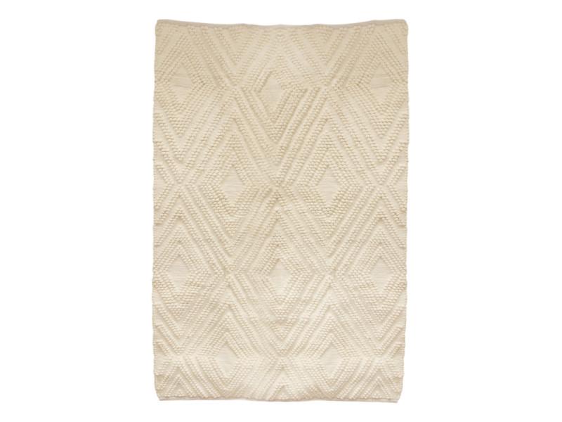 tapis en coton blanc casse motifs graphiques 120 x 170 cm