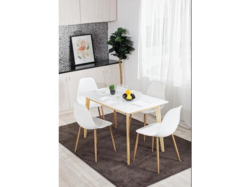 ensemble table a manger rectangulaire bois blanc et 4 chaises scandinave blanc bois blanc et 4 chaises scandinave blanc