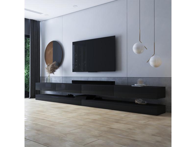 meuble tv suspendu hylia double 2x140 cm noir mat noir brillant style moderne