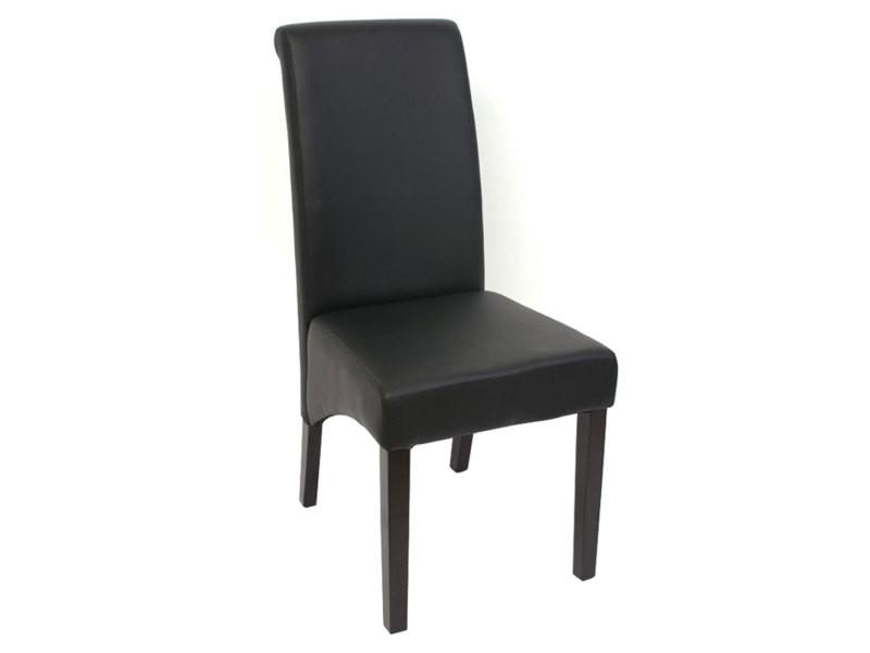 2x chaise de sejour m37 simili cuir mat noir pieds fonces