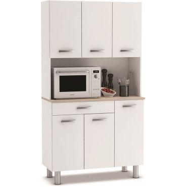 buffet de cuisine meuble de cuisine coloris acacia blanc mat 101 x 185 3 x 42 3 cm pegane j20054746