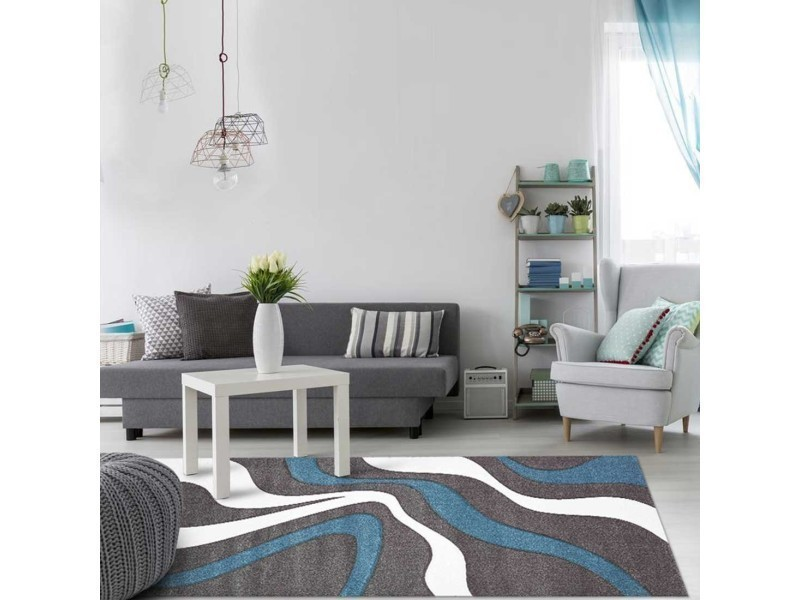 tapis tendance pour la chambre nodage blanc gris bleu 60 x 110 cm