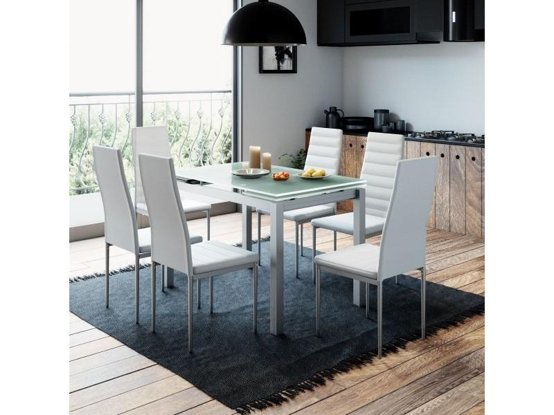 table a manger extensible 6 chaises blanc gisborne