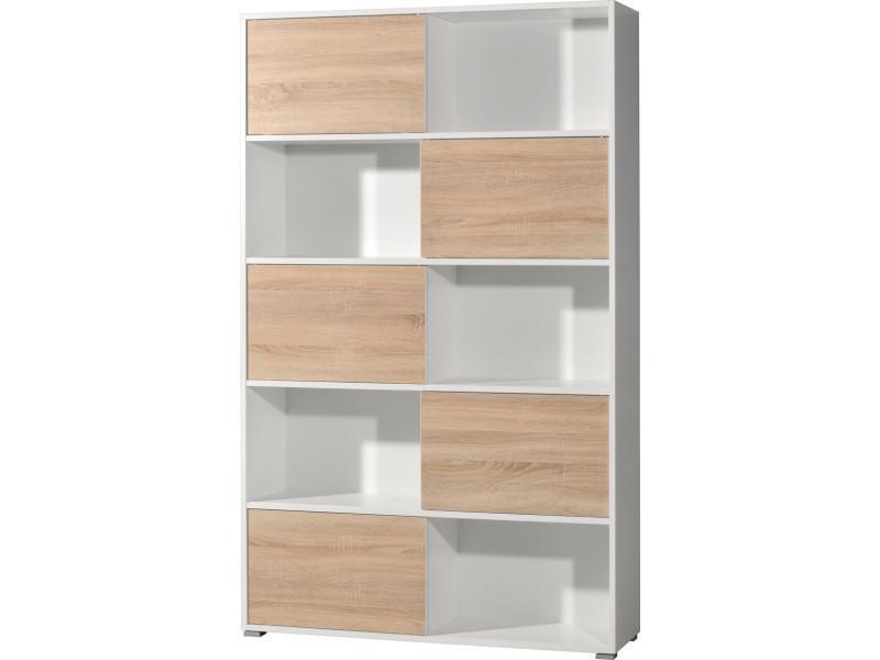 etagere de 5 porte coulissante coloris blanc chene sonoma repro 120 x 196 x 35 cm pegane