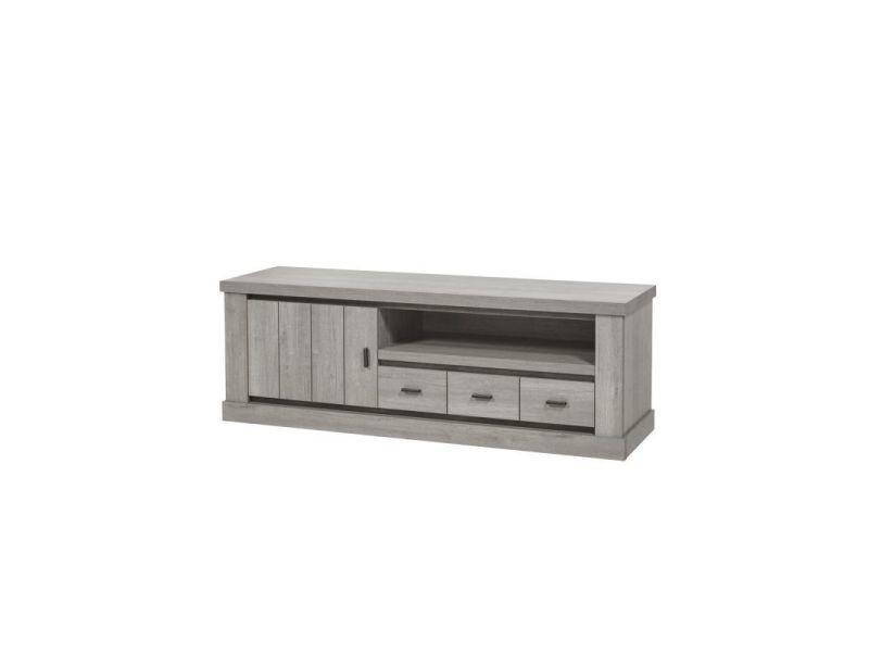 meuble tv contemporain 165 cm chene gris corrie