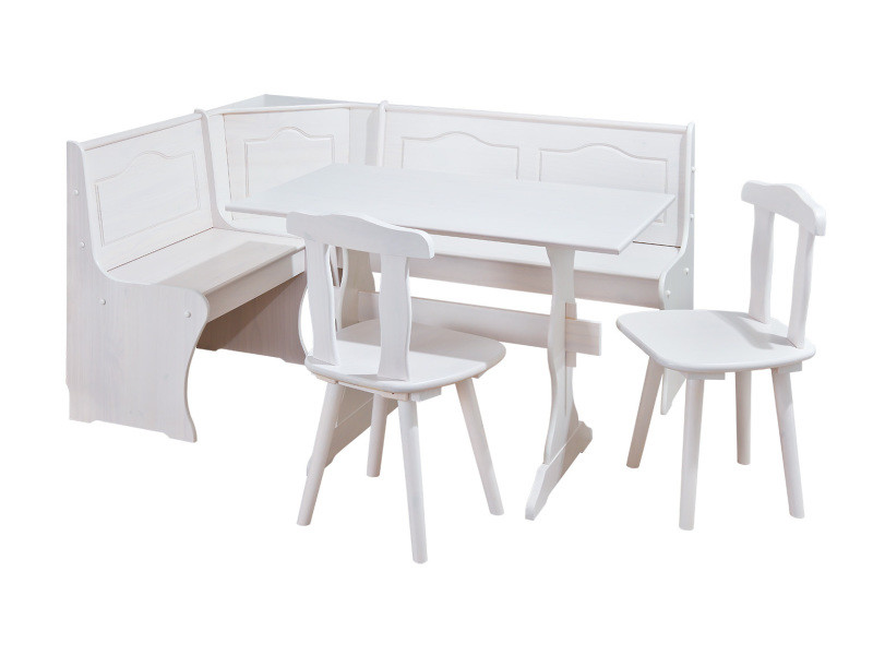 ensemble repas table banc d angle 2 chaises donau pin massif vernis blanc