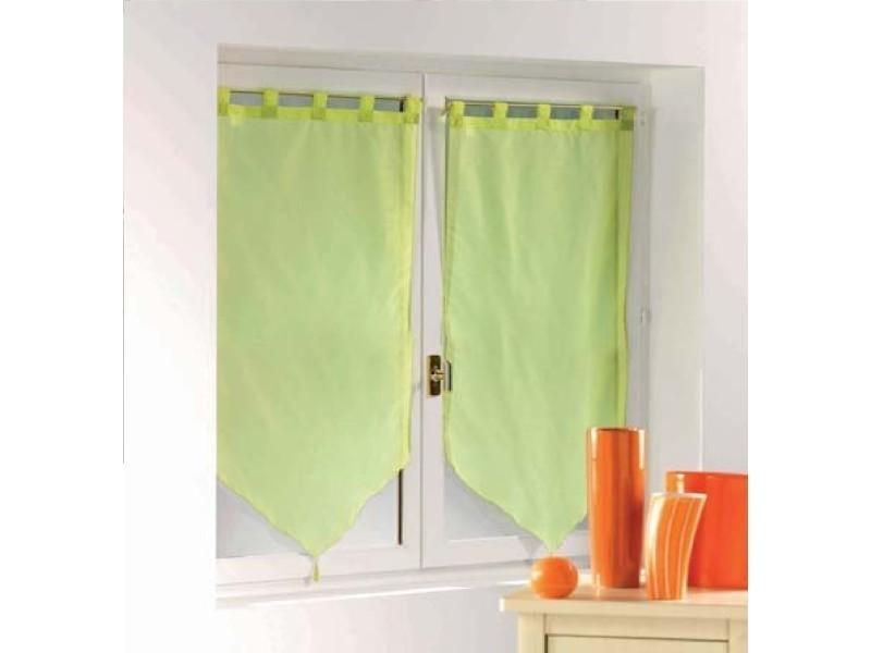 une paire de rideau voilage passants pompon 60 x 90 cm voiline vert amande