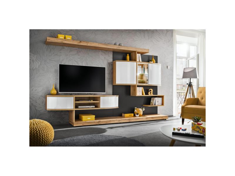 ensemble meuble tv mural palermo l 300 x p 45 x 182 cm beige et blanc