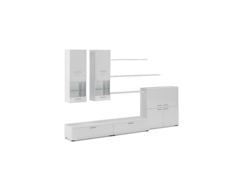 ensemble de meubles meuble tv ilumin led blanc laque blanc mate 300x189x42cm