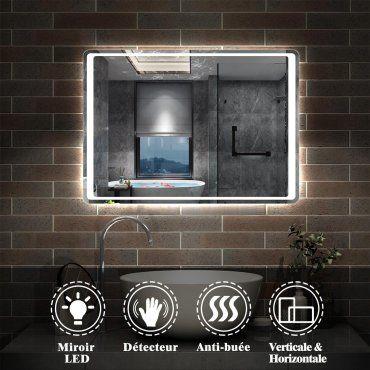 Aica Miroir Lumineux De Salle De Bain Led Avec Fonction Anti Buee Interrupteur Sensoriel 80cmx60cm Reversible Vente De Miroir De Salle De Bain Conforama