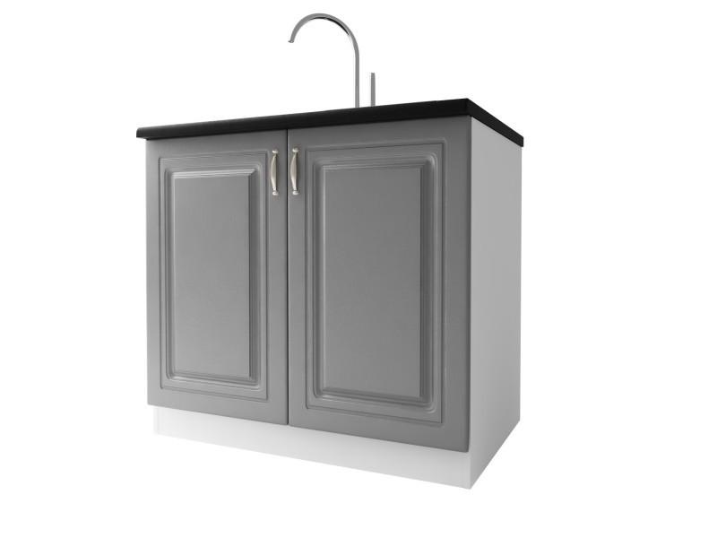 meuble de cuisine sous evier 2 portes 90 cm dina en melamine avec 1 etagere gris