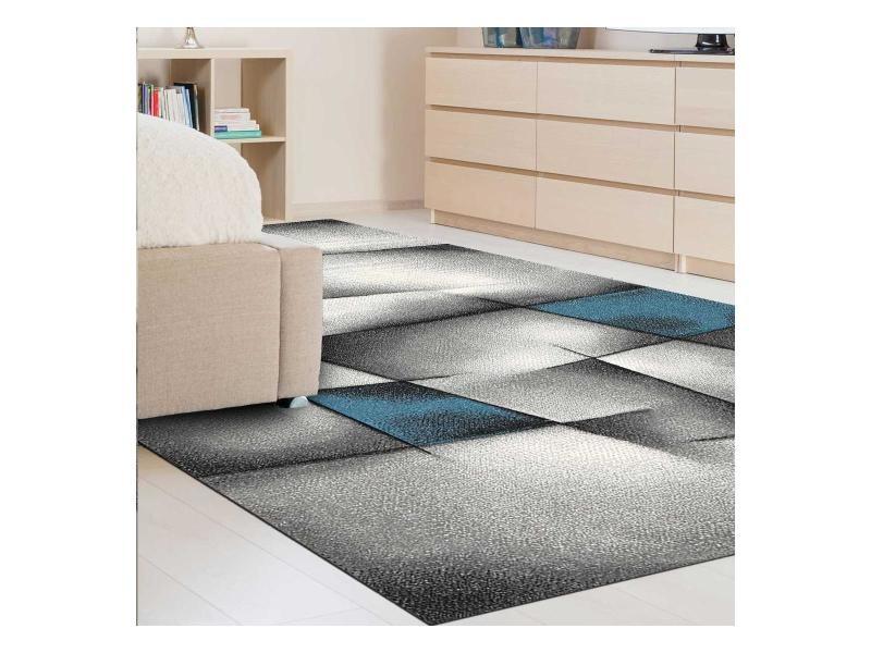tapis design et moderne 280x380 cm rectangulaire parlak 3d bleu grand salon adapte au chauffage par le sol