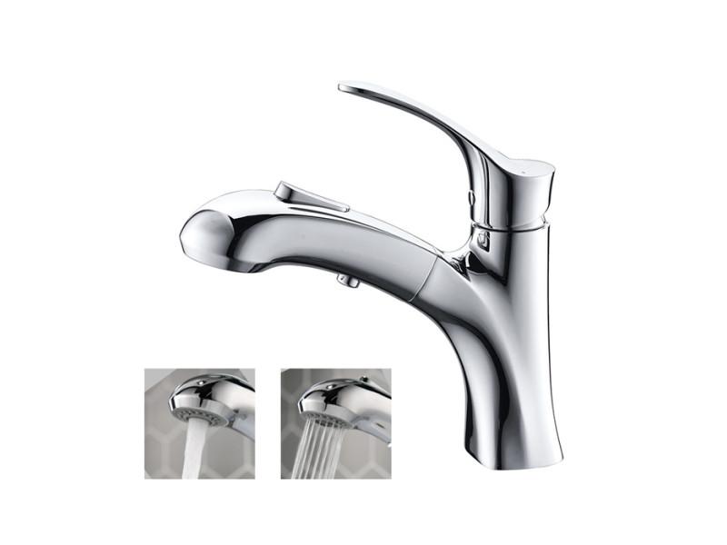 robinet salle de bain avec douchette extractible chrome mitigeur de lavabo 2 jets au choix en laiton