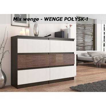 munich 1w commode contemporaine chambre salon bureau 140x77x30 dressing 6 tiroirs meuble de rangement scandinave wenge blanc wenge