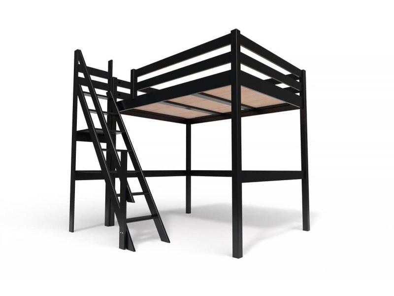 lit mezzanine sylvia avec escalier de meunier bois 140x200 noir