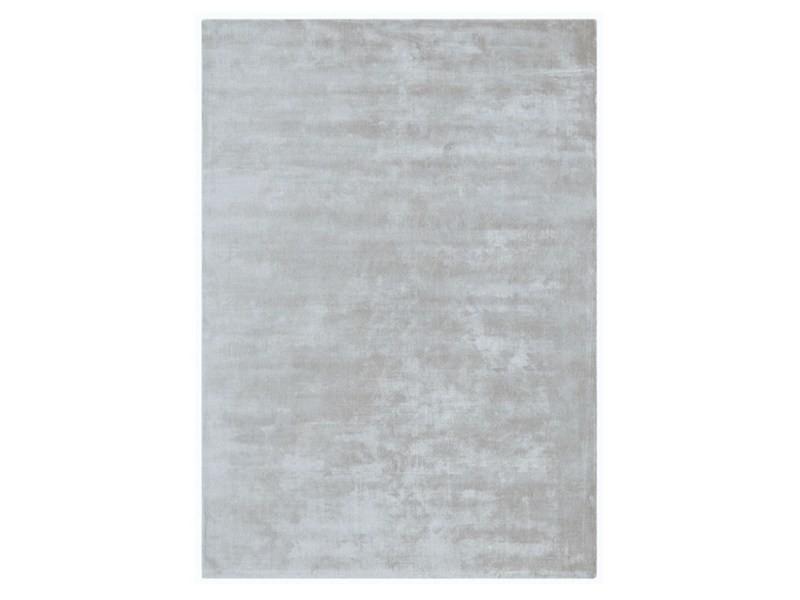tapis uni viscose luxe designer titane 200x300 cm