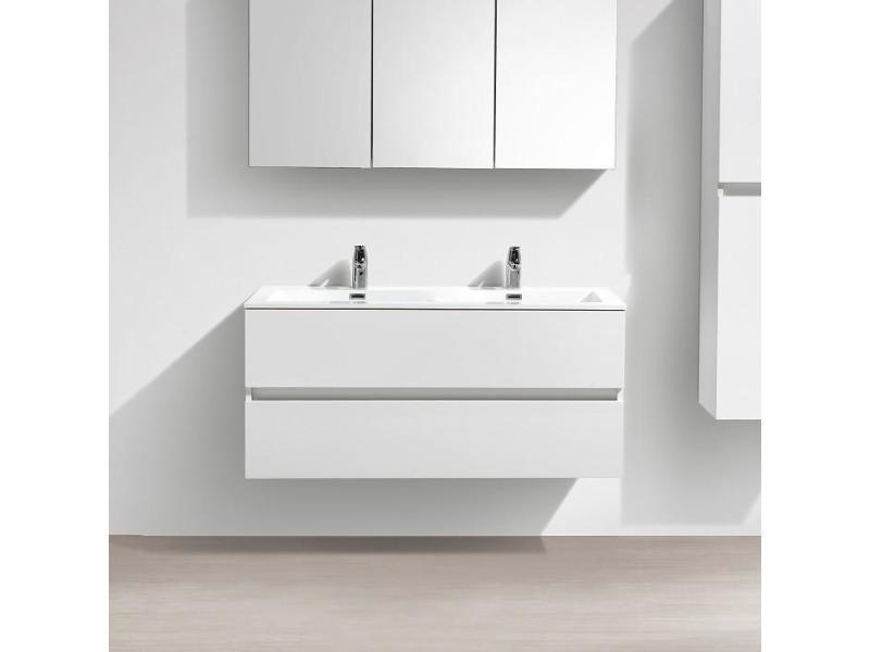 Meuble Salle De Bain Design Double Vasque Siena Largeur 120 Cm Blanc Laque Vente De Salle De Bain Pretes A Emporter Conforama