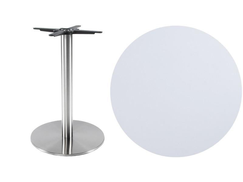 table ronde blanche en bois et metal l50 x l50 x h75 cm pegane