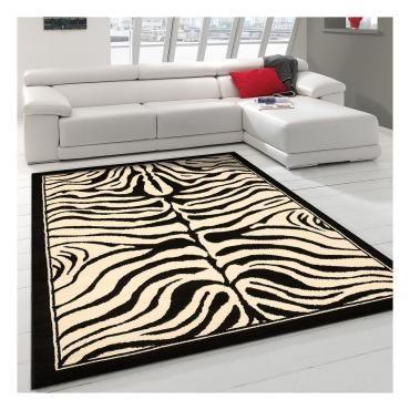 tapis design et moderne 120x170 cm rectangulaire af zebre noir salon adapte au chauffage par le sol s38158960