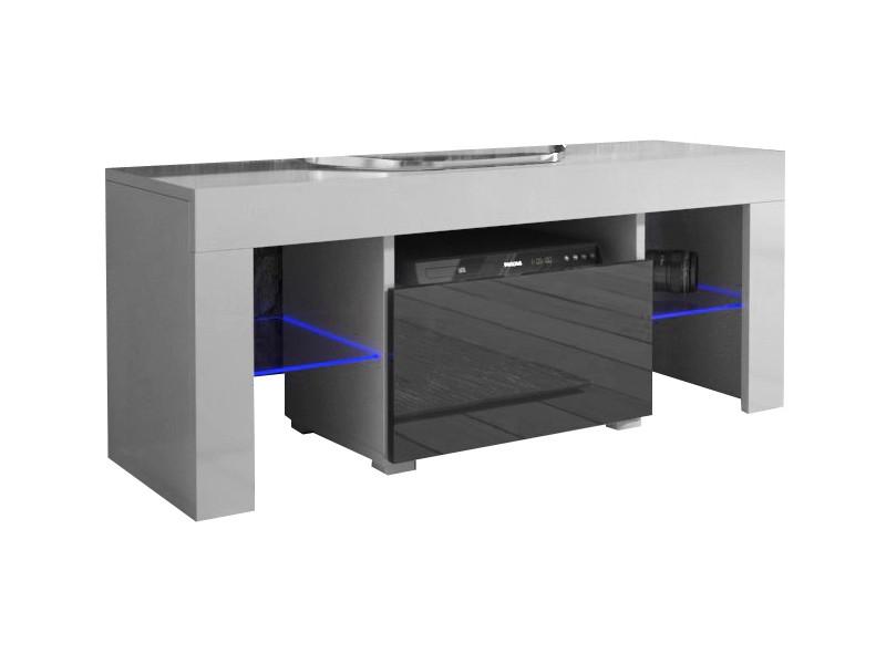 meuble tv 110 cm blanc mat et noir brillant led rgb