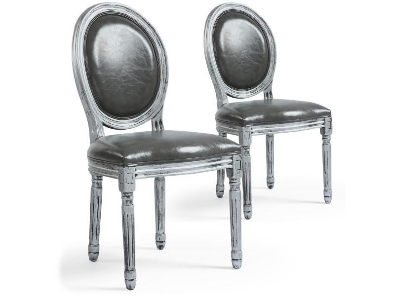 lot de 2 chaises de style medaillon louis xvi simili p u gris bois patine argent