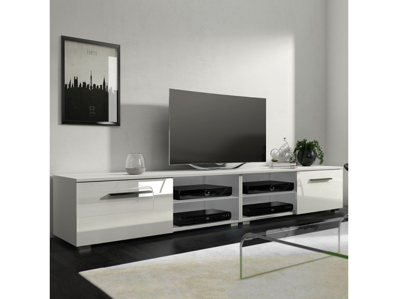 meuble tv banc tv tenus double 200 cm blanc mat blanc brillant sans led