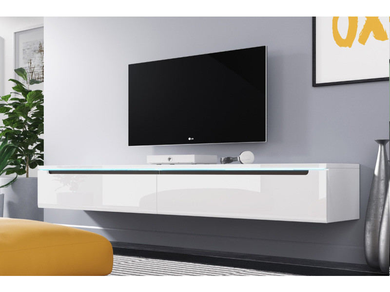 meuble tv swift 180 cm blanc brillant avec led