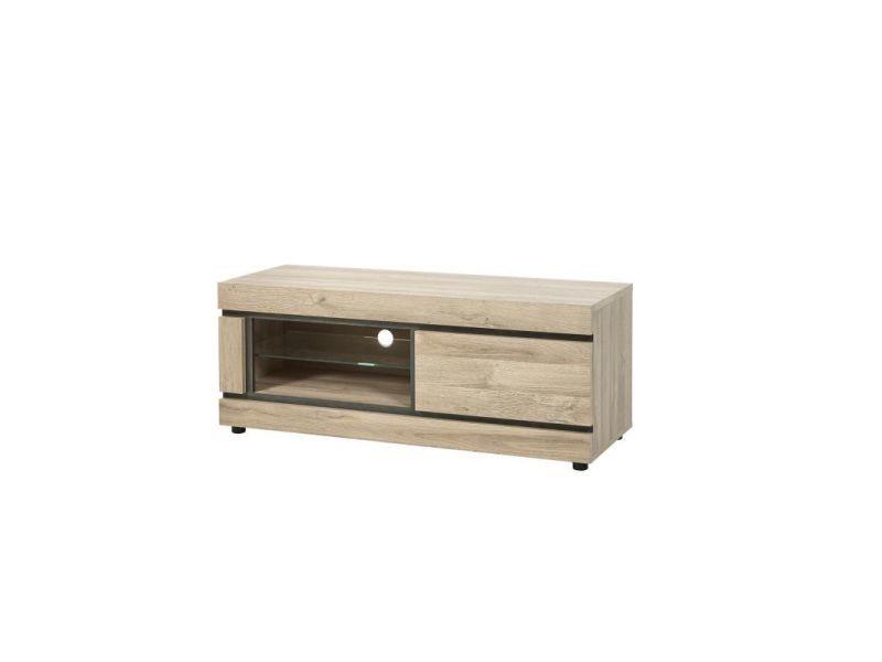 meuble tv contemporain 130 cm coloris chene yannick
