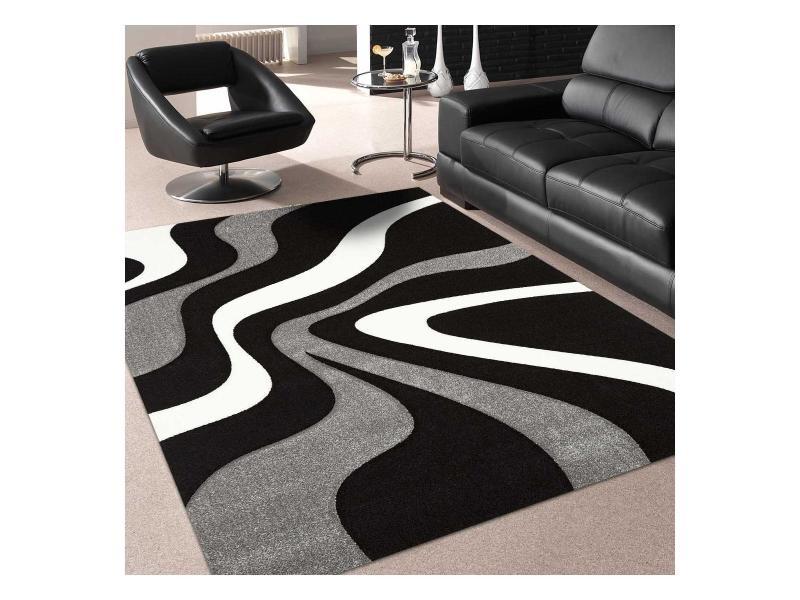 tapis design et moderne 280x380 cm rectangulaire nodage gris grand salon adapte au chauffage par le sol