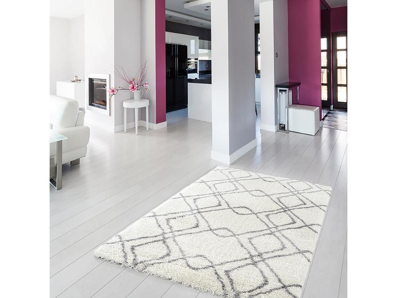 tapis style berbere 160x230 cm rectangulaire pearl ma kj blanc salon adapte au chauffage par le sol