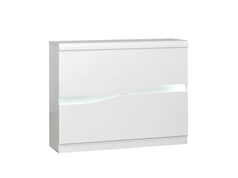Bar Amenage Blanc Laque Brillant A Leds Pesmes L 125 X L 36 X H 100 Neuf Vente De Tousmesmeubles Conforama