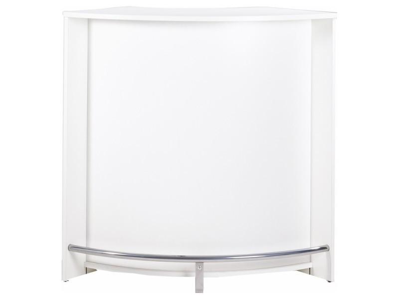 Meuble Bar Comptoir Cuisine Blanc 107 Cm Coloris Blanc Vente De Beauxmeublespaschers Conforama