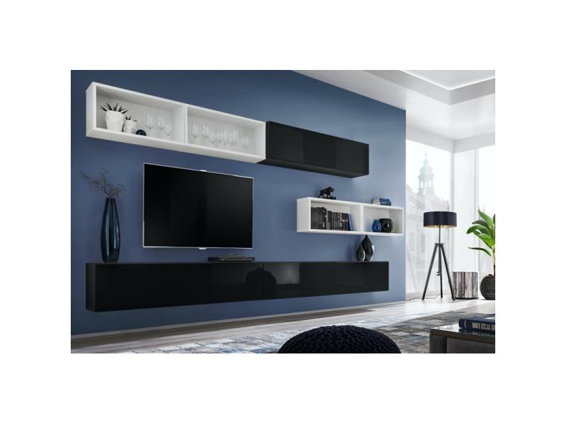 ensemble meuble tv mural blox xiiii l 350 x p 32 x h 150 cm noir et blanc