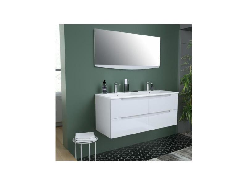 Smile Salle De Bain Double Vasque Miroir L 120 Cm 4 Tiroirs A Fermeture Ralenties Blanc Smileset120bl Vente De Sans Marque Conforama