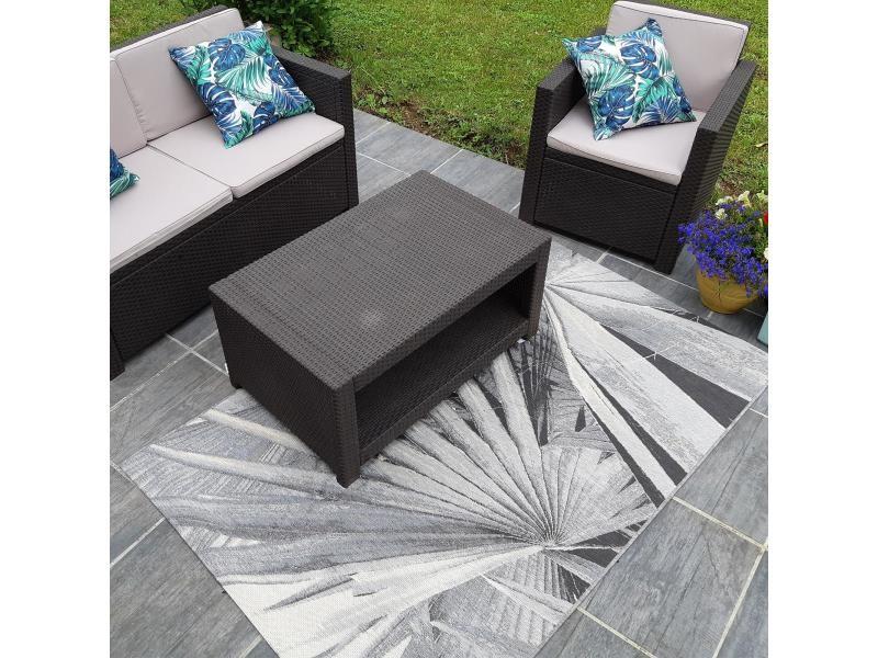 tapis exterieur 160x230 cm rectangulaire bacao gris terrasse jardin adapte au chauffage par le sol
