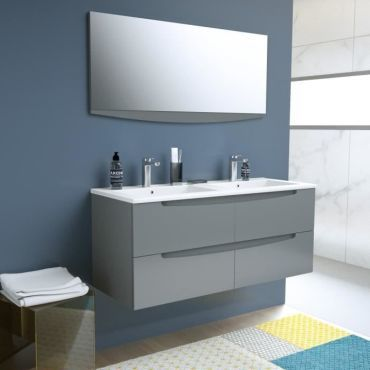 Smile Salle De Bain Double Vasque Miroir L 120 Cm 4 Tiroirs A Fermeture Ralenties Anthracite Smileset120ant Vente De Sans Marque Conforama