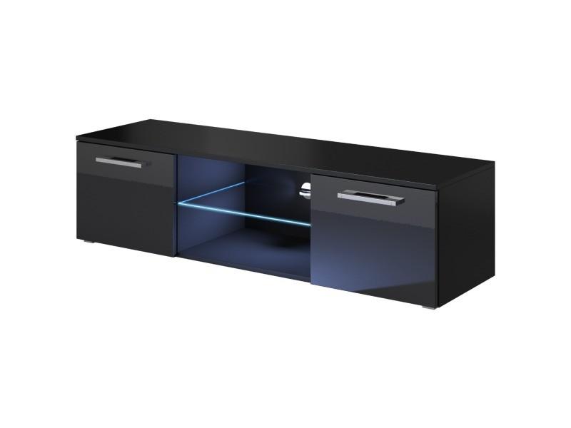 e com meuble tv armoire tele table television zeus 140cm noir