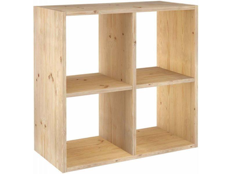 etagere cubes en bois brut dinamic 4 cases